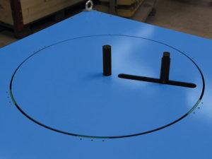 Wickelachse des Packtisches Typ PTZ in der Höhe verstellbar sowie verstellbarer Achsabstand